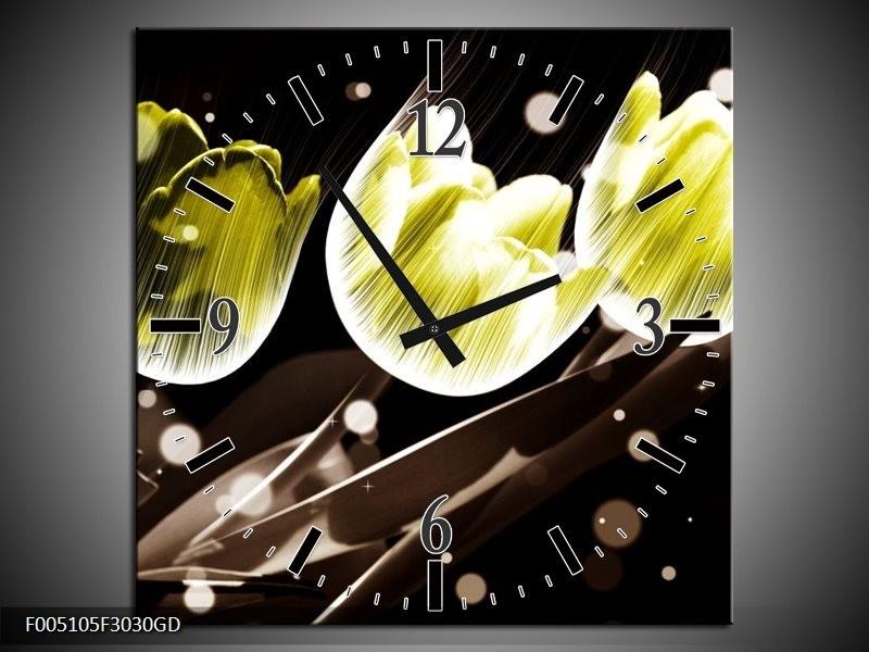 Wandklok op Glas Tulp | Kleur: Geel, Grijs | F005105CGD