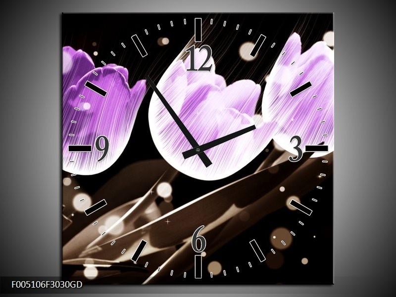 Wandklok op Glas Tulp   Kleur: Paars, Grijs   F005106CGD