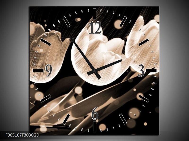 Wandklok op Glas Tulp   Kleur: Wit, Zwart, Grijs   F005107CGD