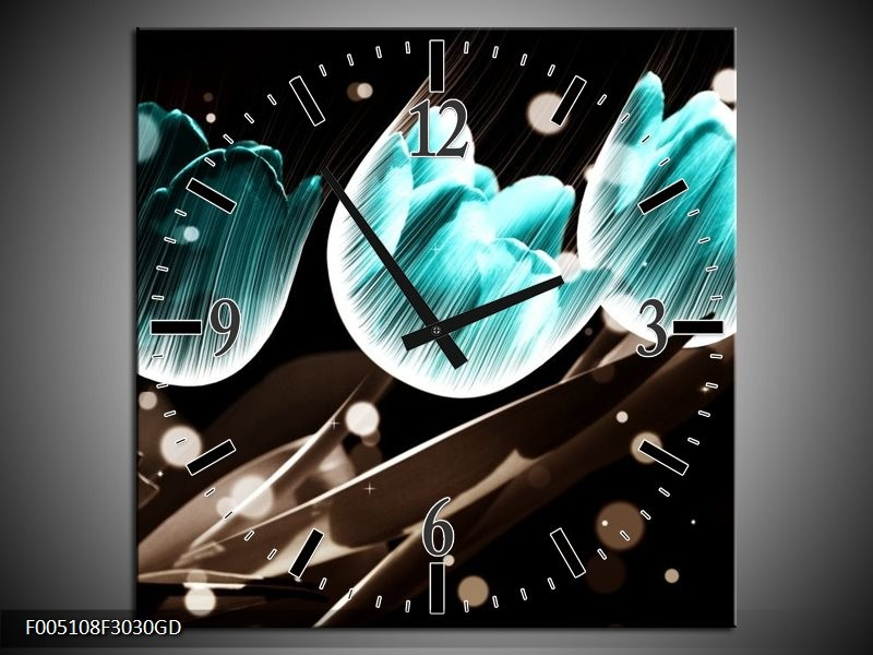 Wandklok op Glas Tulp   Kleur: Blauw, Zwart   F005108CGD