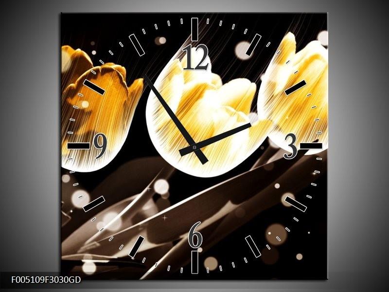 Wandklok op Glas Tulp | Kleur: Geel, Zwart | F005109CGD