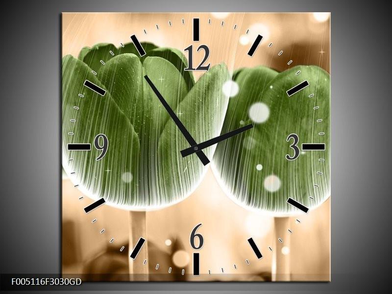Wandklok op Glas Tulp | Kleur: Groen, Bruin | F005116CGD