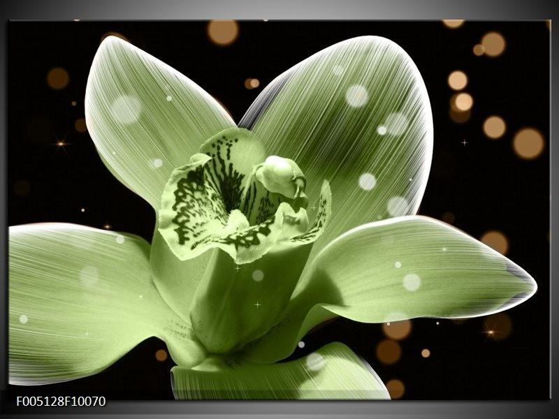 Glas schilderij Iris | Groen, Zwart