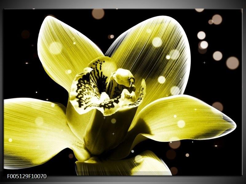 Glas schilderij Iris | Geel, Zwart