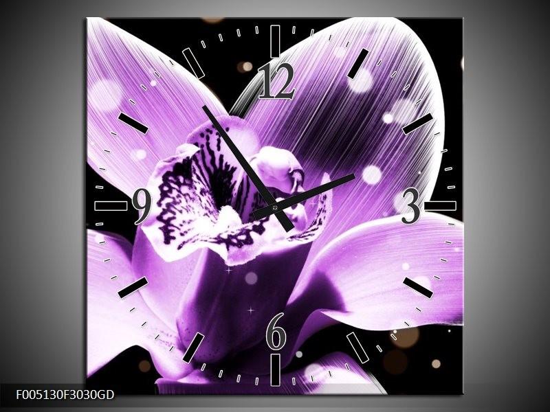 Wandklok op Glas Iris | Kleur: Paars, Zwart | F005130CGD