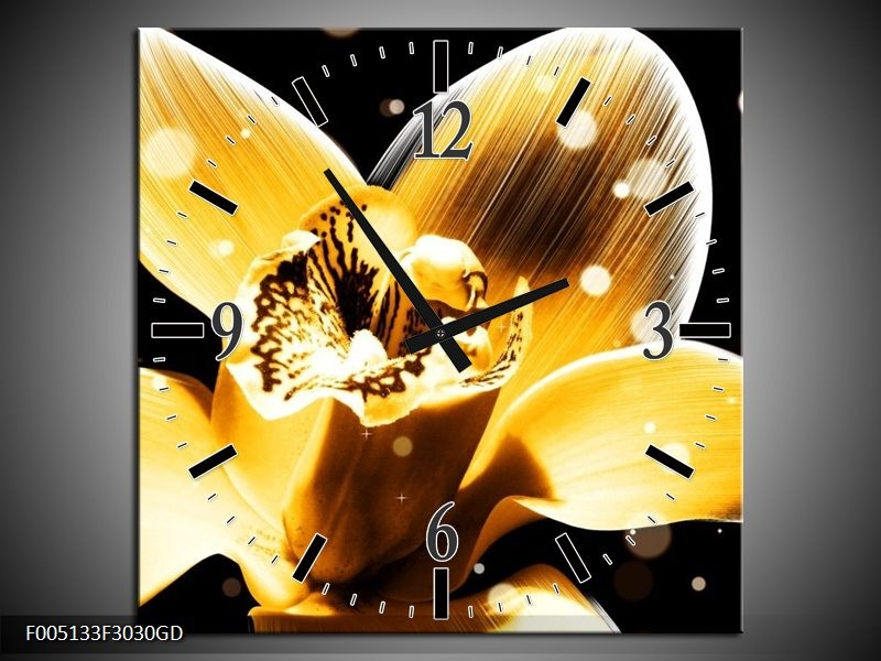 Wandklok op Glas Bloem   Kleur: Geel, Zwart   F005133CGD