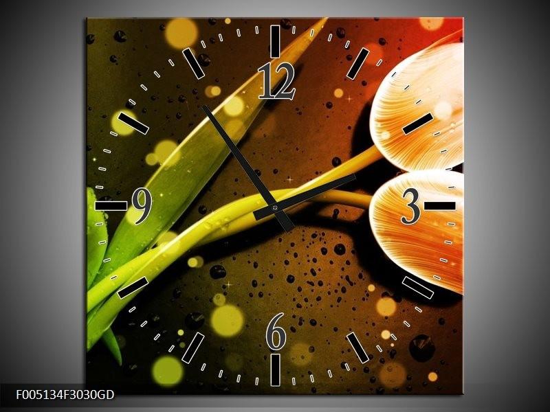 Wandklok op Glas Tulp | Kleur: Oranje, Groen, Rood | F005134CGD