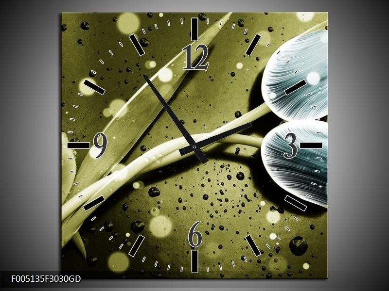 Wandklok op Glas Tulp | Kleur: Blauw, Groen, Grijs | F005135CGD