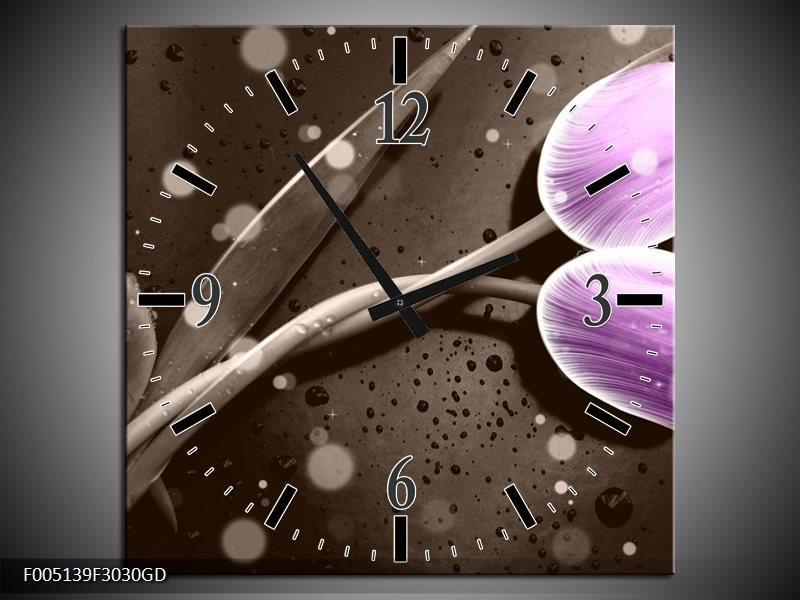 Wandklok op Glas Tulp | Kleur: Paars, Grijs | F005139CGD