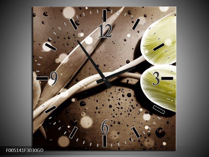 Wandklok op Glas Tulp   Kleur: Geel, Grijs   F005141CGD