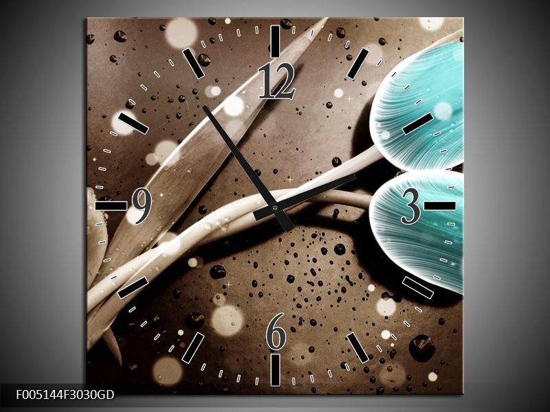 Wandklok op Glas Tulp | Kleur: Blauw, Grijs | F005144CGD