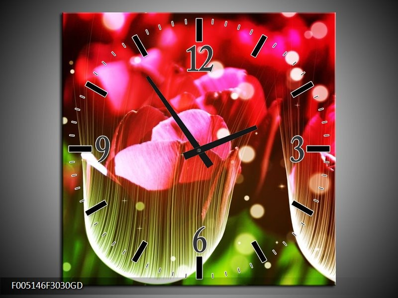 Wandklok op Glas Tulp | Kleur: Rood, Groen, Zwart | F005146CGD