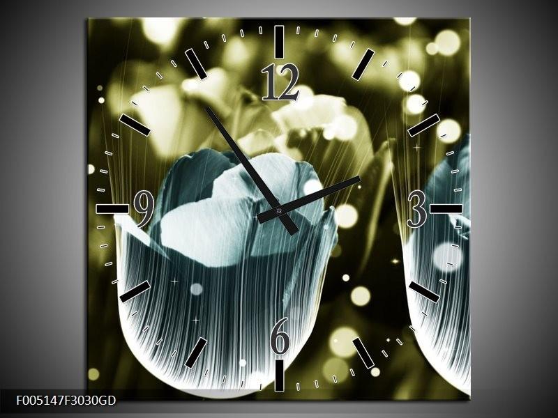 Wandklok op Glas Tulp | Kleur: Blauw, Grijs | F005147CGD