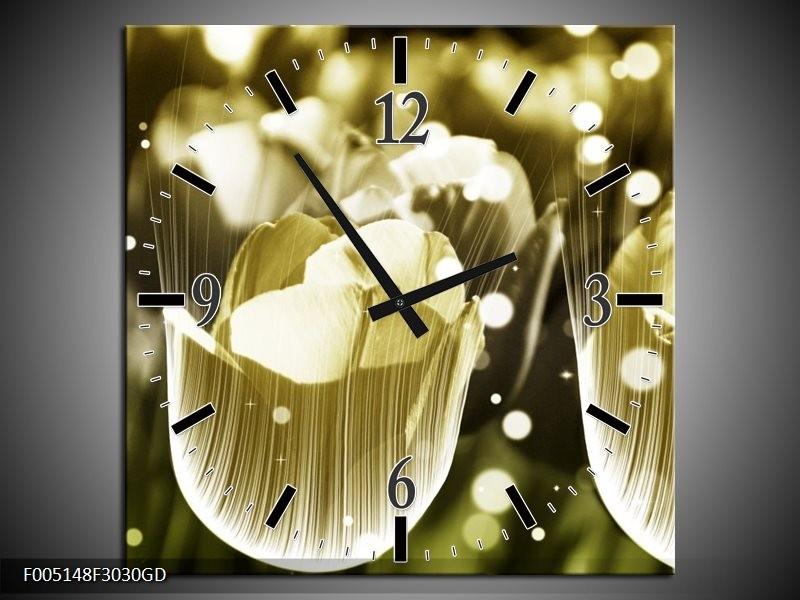 Wandklok op Glas Tulp | Kleur: Geel, Zwart | F005148CGD