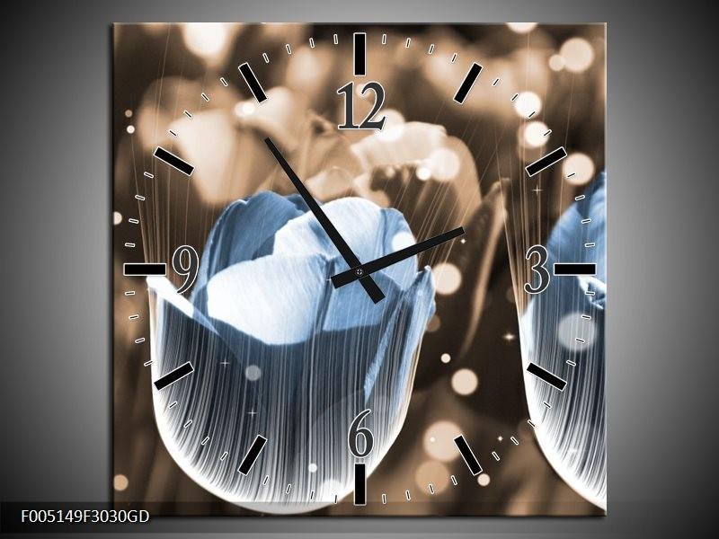 Wandklok op Glas Tulp | Kleur: Blauw, Grijs | F005149CGD