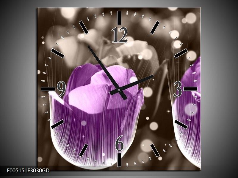 Wandklok op Glas Tulp   Kleur: Paars, Grijs   F005151CGD