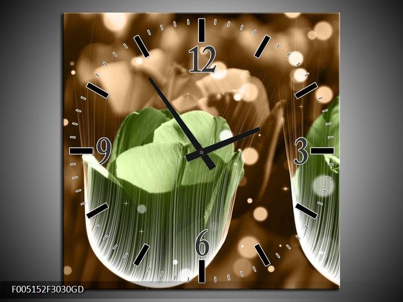 Wandklok op Glas Tulp   Kleur: Groen, Bruin   F005152CGD