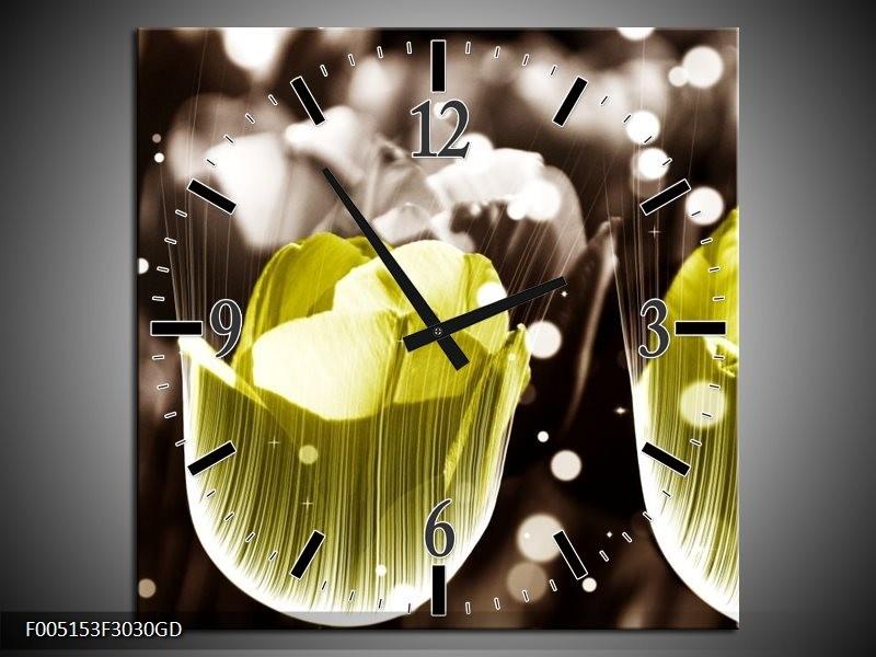 Wandklok op Glas Tulp | Kleur: Geel, Grijs | F005153CGD