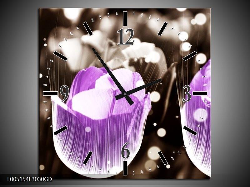 Wandklok op Glas Tulp | Kleur: Paars, Grijs | F005154CGD