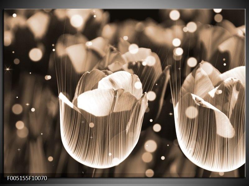 Glas schilderij Tulp | Grijs