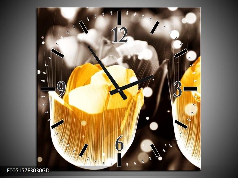 Wandklok op Glas Tulp | Kleur: Geel, Grijs, Wit | F005157CGD