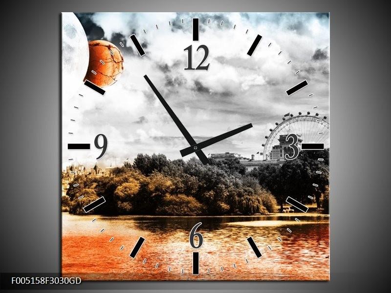 Wandklok op Glas Natuur   Kleur: Oranje, Grijs, Wit   F005158CGD