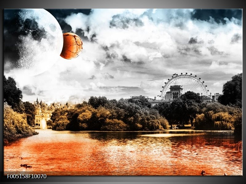 Glas schilderij Natuur | Oranje, Grijs, Wit