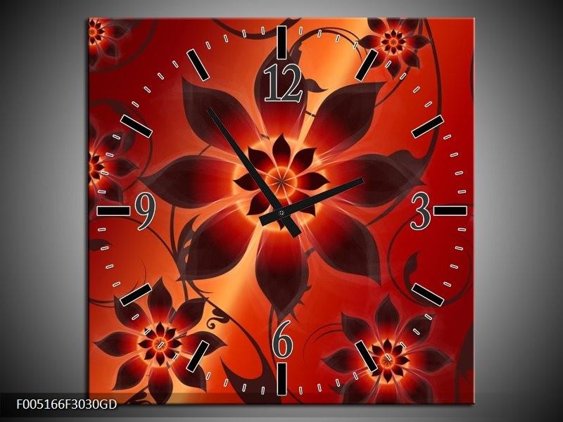 Wandklok op Glas Modern | Kleur: Rood, Oranje, Geel | F005166CGD