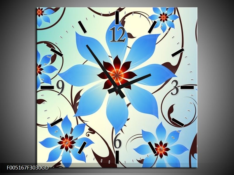 Wandklok op Glas Modern | Kleur: Blauw, Wit | F005167CGD