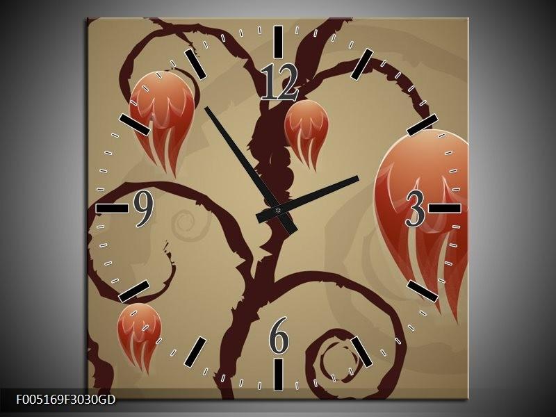 Wandklok op Glas Modern | Kleur: Bruin, Grijs | F005169CGD