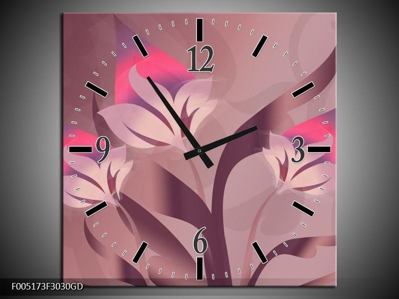 Wandklok op Glas Modern   Kleur: Paars, Roze   F005173CGD