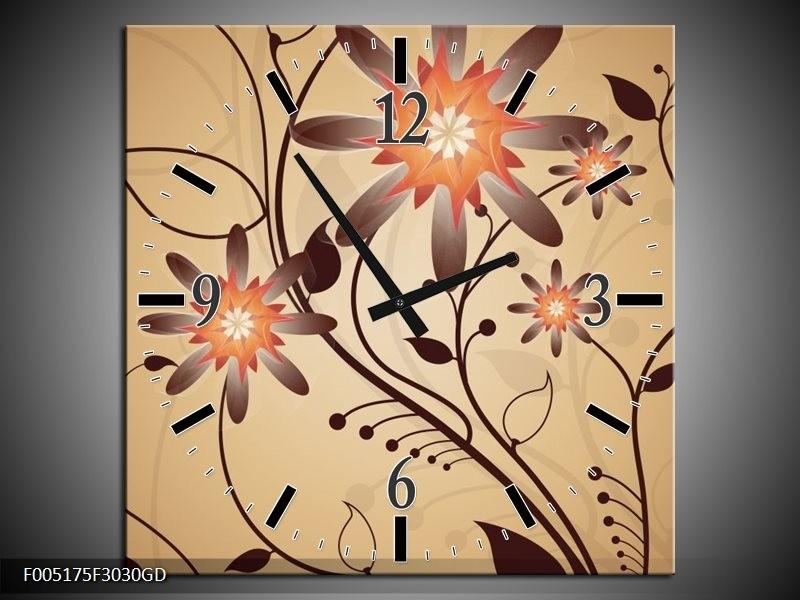 Wandklok op Glas Modern | Kleur: Bruin, Oranje | F005175CGD