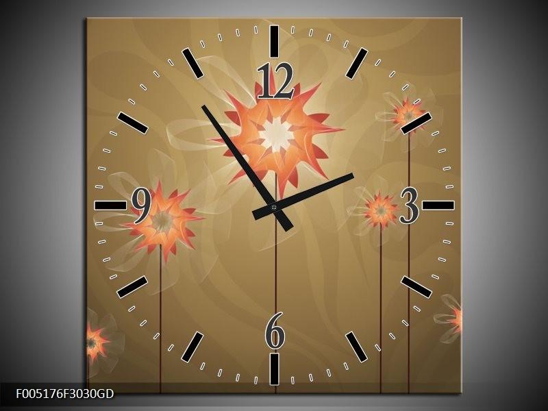 Wandklok op Glas Modern   Kleur: Bruin, Oranje   F005176CGD