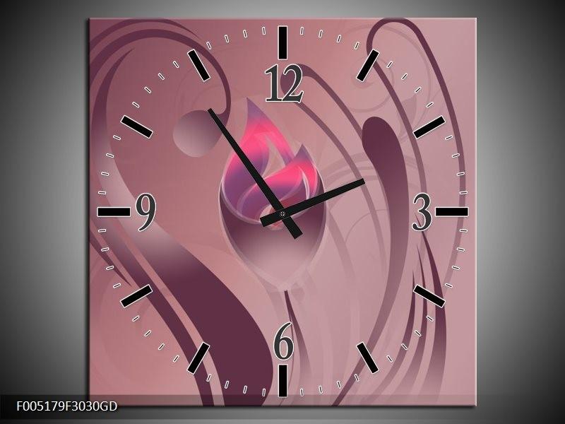 Wandklok op Glas Modern | Kleur: Paars, Roze | F005179CGD