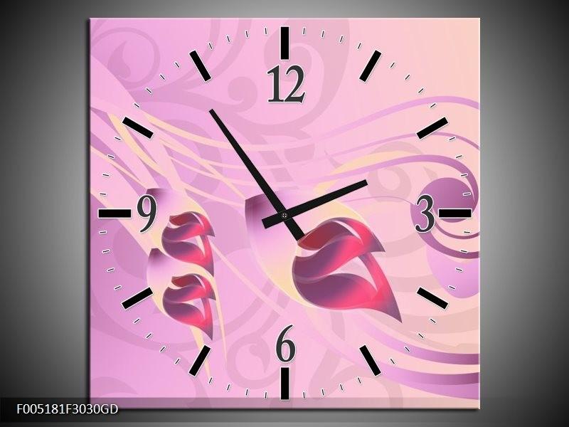 Wandklok op Glas Modern   Kleur: Paars, Roze   F005181CGD