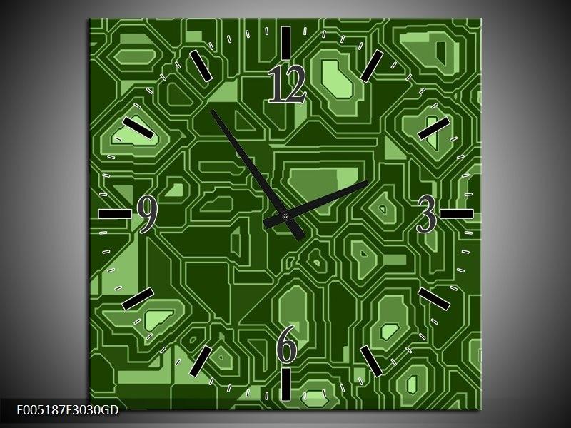 Wandklok op Glas Modern | Kleur: Groen | F005187CGD