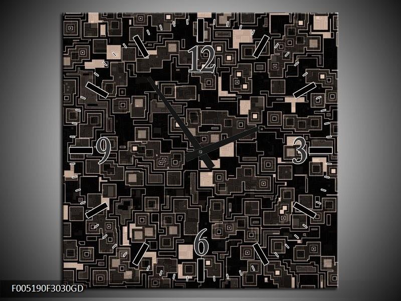 Wandklok op Glas Modern | Kleur: Zwart, Grijs | F005190CGD