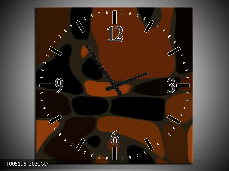 Wandklok op Glas Modern | Kleur: Bruin, Zwart | F005196CGD
