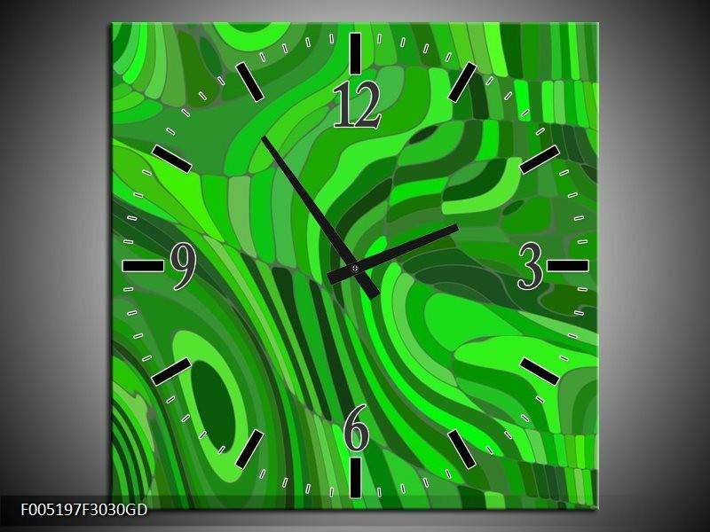 Wandklok op Glas Modern | Kleur: Groen | F005197CGD