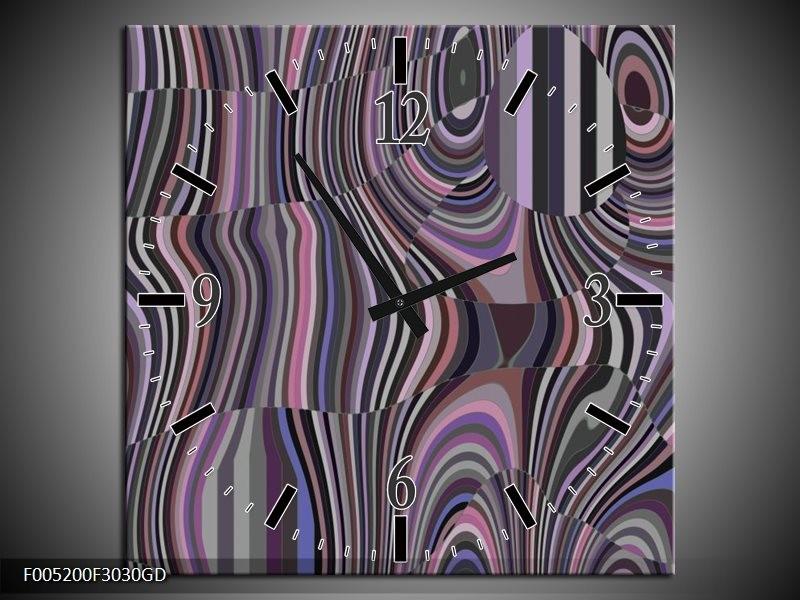 Wandklok op Glas Modern | Kleur: Zwart, Grijs, Paars | F005200CGD