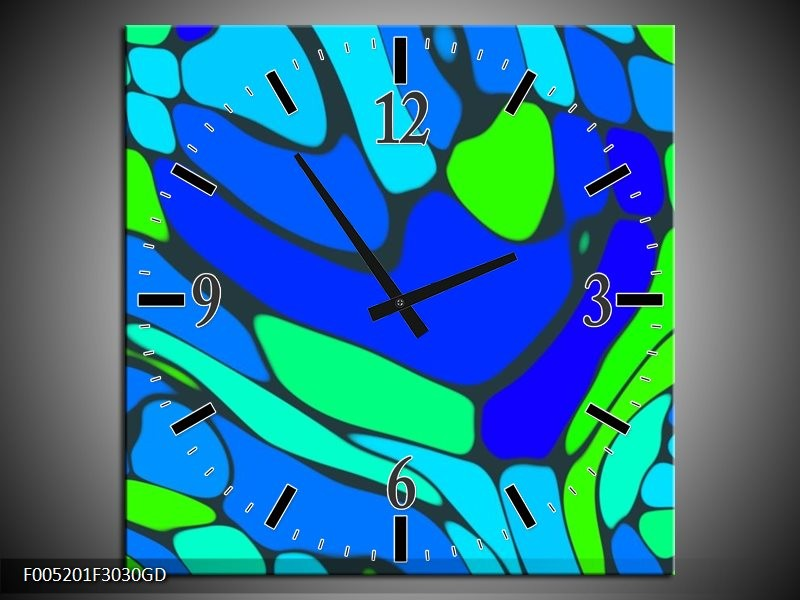 Wandklok op Glas Modern | Kleur: Blauw, Groen | F005201CGD