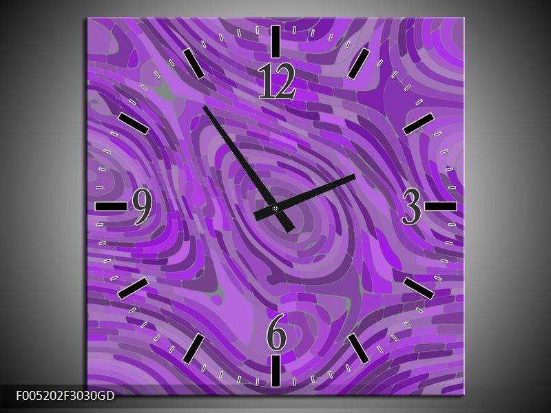 Wandklok op Glas Modern | Kleur: Paars | F005202CGD