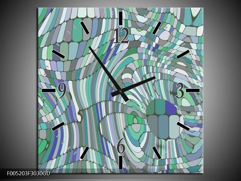Wandklok op Glas Modern   Kleur: Groen, Blauw   F005203CGD