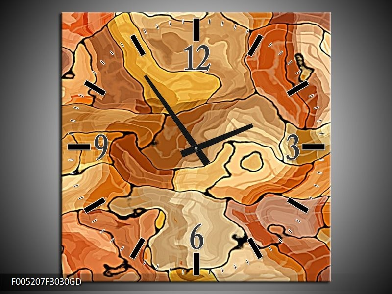Wandklok op Glas Modern | Kleur: Bruin, Geel | F005207CGD