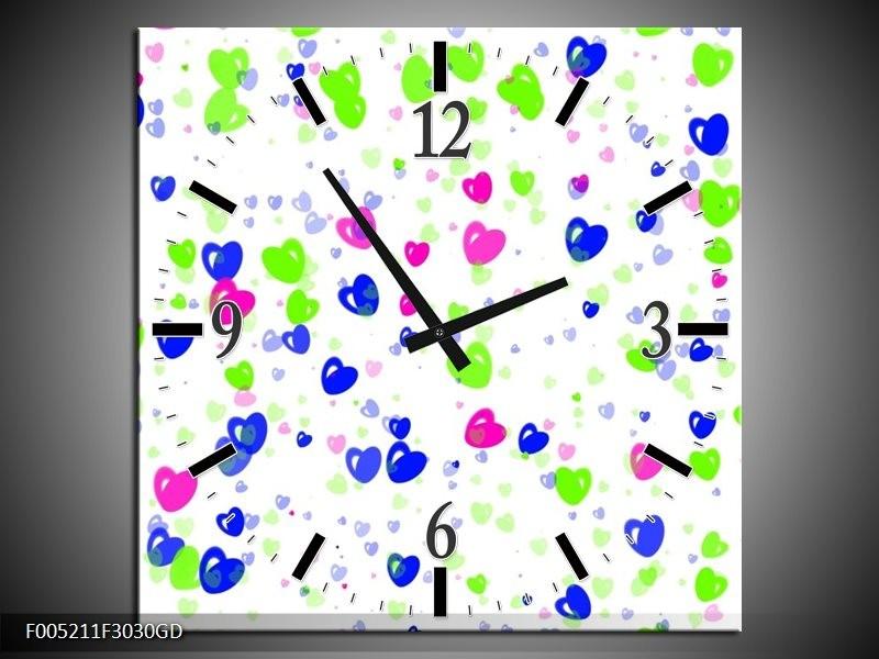 Wandklok op Glas Modern | Kleur: Paars, Groen, Blauw | F005211CGD