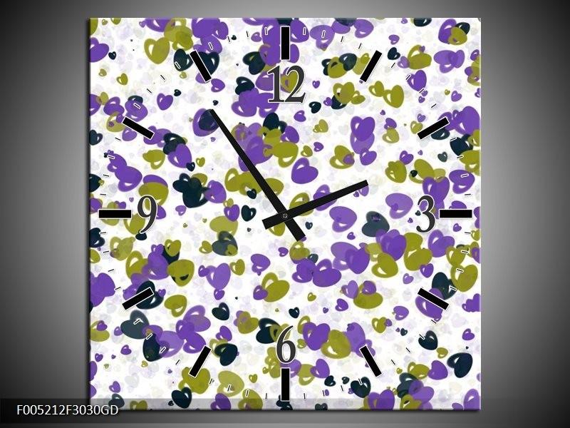 Wandklok op Glas Modern | Kleur: Paars, Groen, Wit | F005212CGD