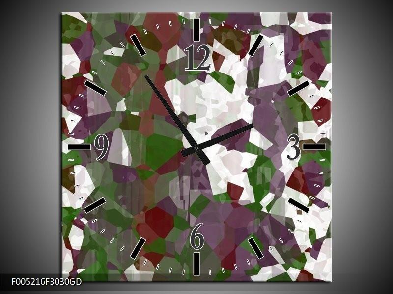 Wandklok op Glas Modern | Kleur: Wit, Paars, Groen | F005216CGD