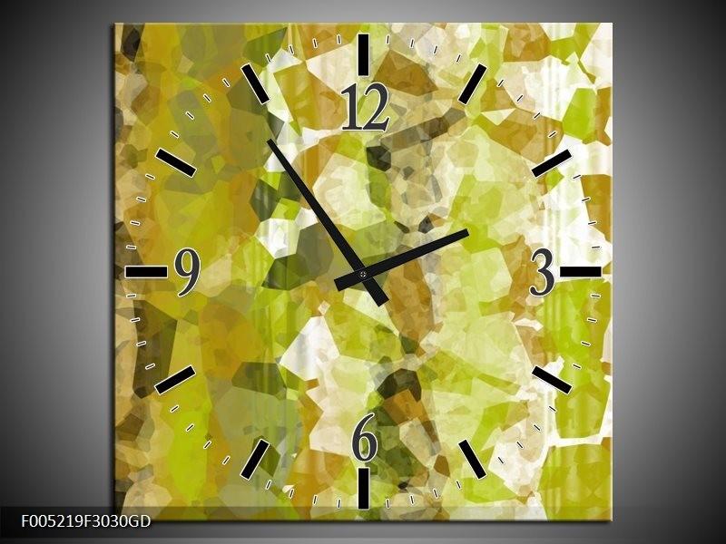 Wandklok op Glas Modern | Kleur: Geel, Groen | F005219CGD