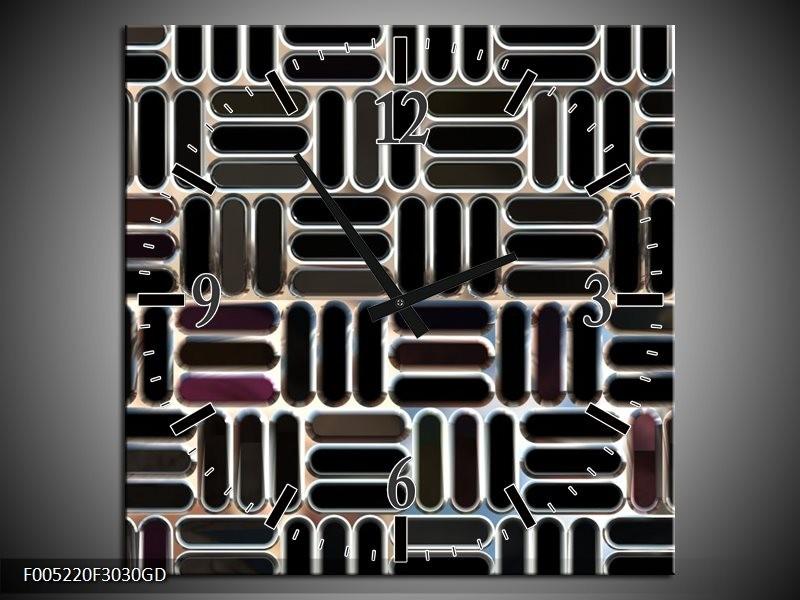 Wandklok op Glas Modern   Kleur: Zwart, Wit, Grijs   F005220CGD