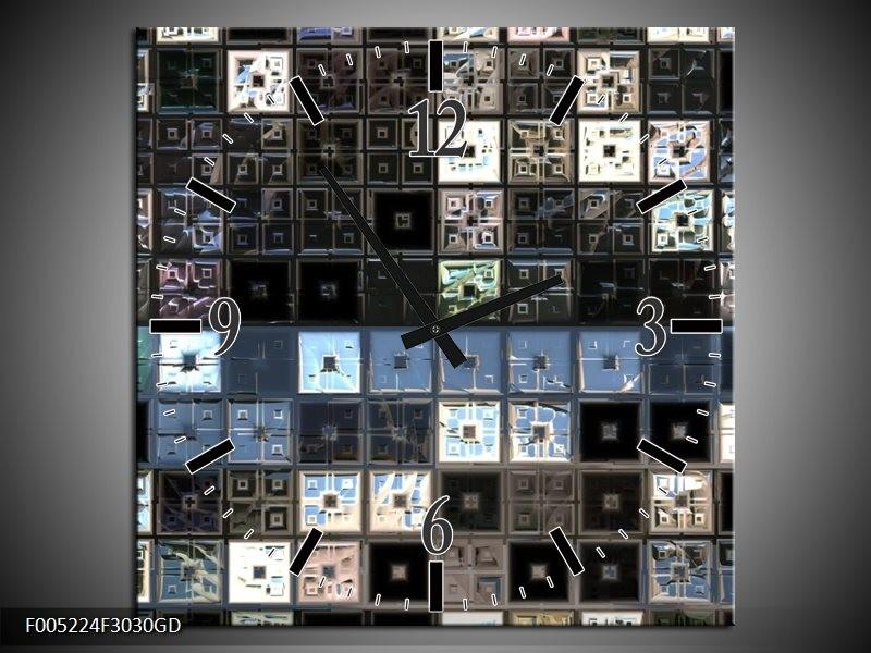 Wandklok op Glas Modern | Kleur: Blauw, Grijs, Zwart | F005224CGD